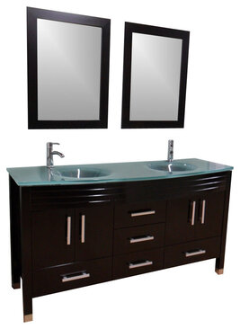 63 double sink vanity frosted glass top