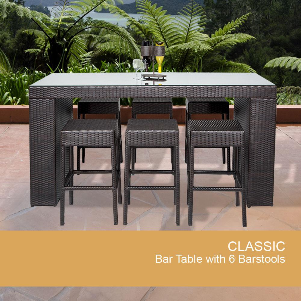7 piece wicker bar table set w barstools