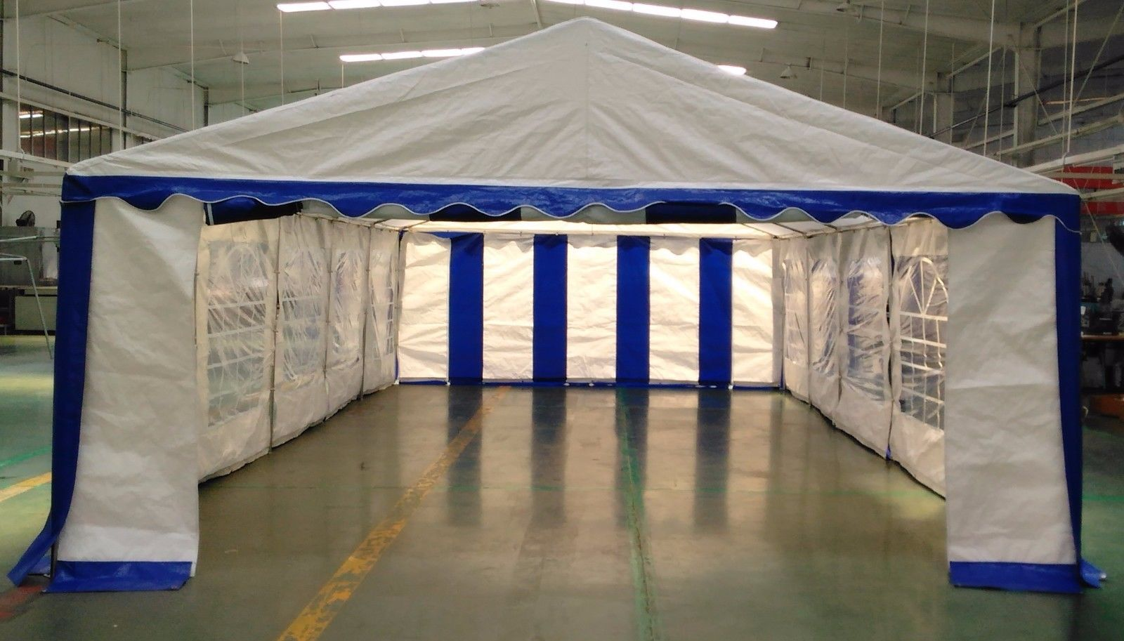 15 X 30 Heavy Duty White And Blue Party Tent Canopy