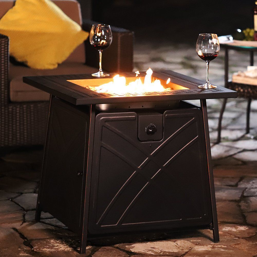Outdoor Propane Fire Pit Table Patio Heater Gas 28 Inch Square