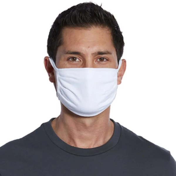 wholesale cotton face mask white front view