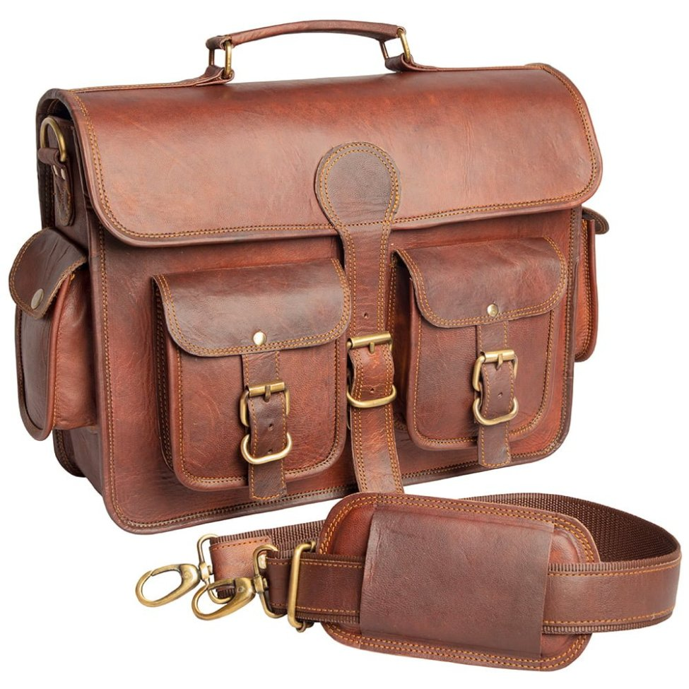 Leather Travel Messenger Bag