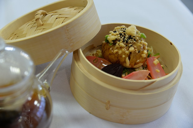Ray Steplin's winning street food themed starter- Oxtail and wasabi steamed bun