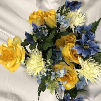blue and yellow mixed bush