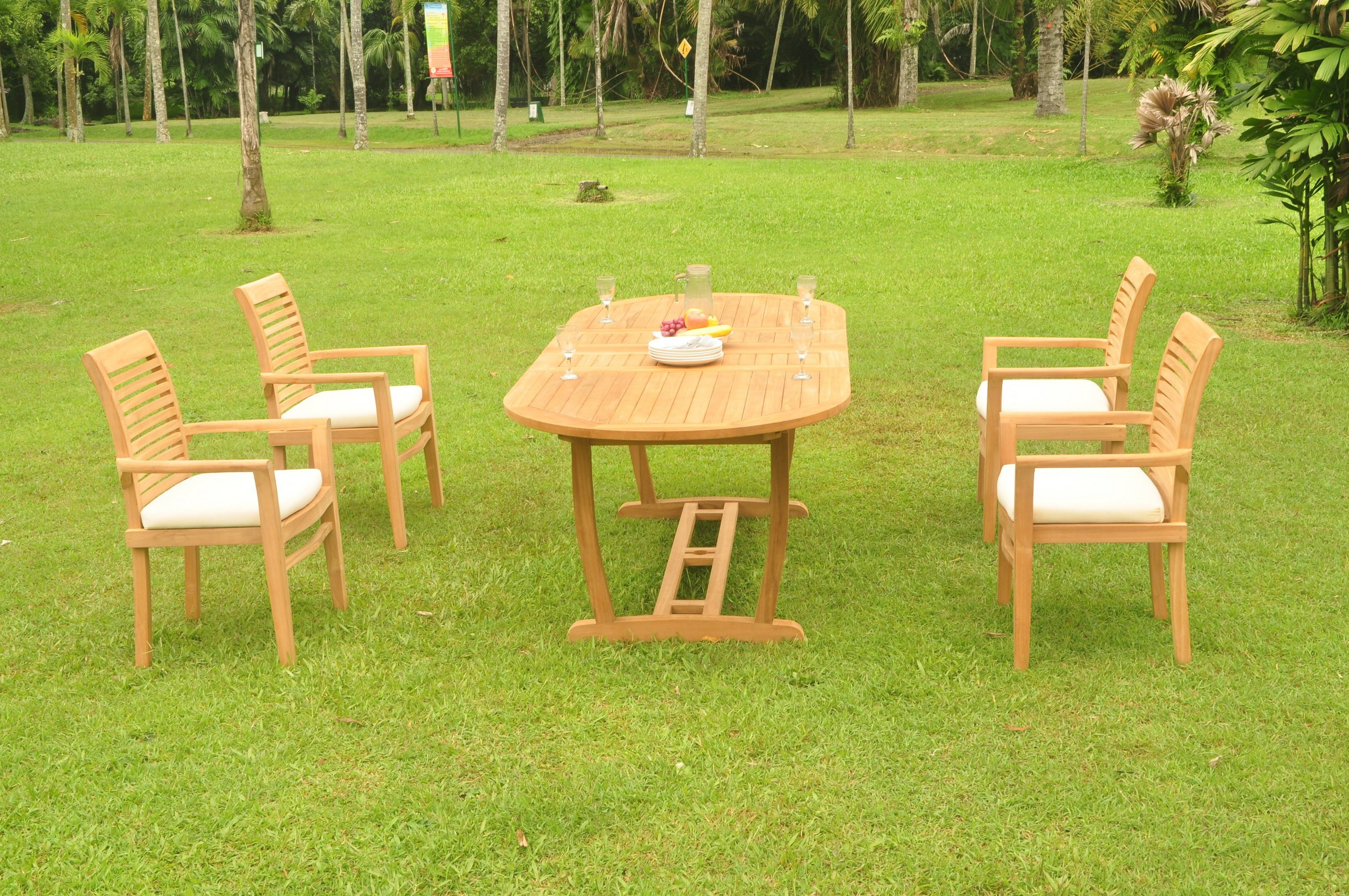 A-Grade Teak 5pc Dining 94 Mas Oval Trestle Leg Table Mas