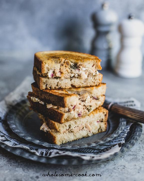 Toasties with Feta Caper and Tuna Spread