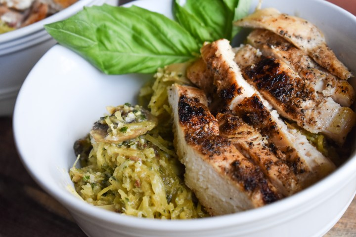 Chicken Pesto Spaghetti Squash