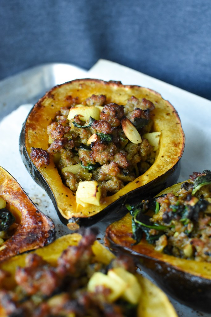Sage Sausage and Apple Stuffed Acorn Squash [Whole30, Paleo] | Wholesome-joy.com