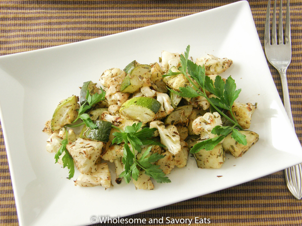 Herb Roasted Cauliflower and Zucchini