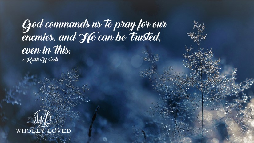 "Winter scene with white lettering that says, ""God commands us to pray for our enemies, and He can be trusted, even in this. ~Kristi Woods"""