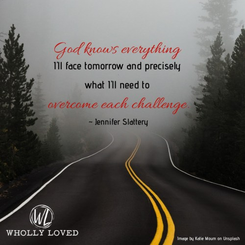Foggy road with quote pulled from post