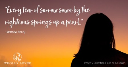 woman gazing toward the sunrise with quote from Matthew Henry