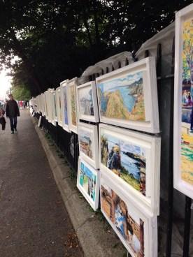 Art vendors outside of Merrion Square