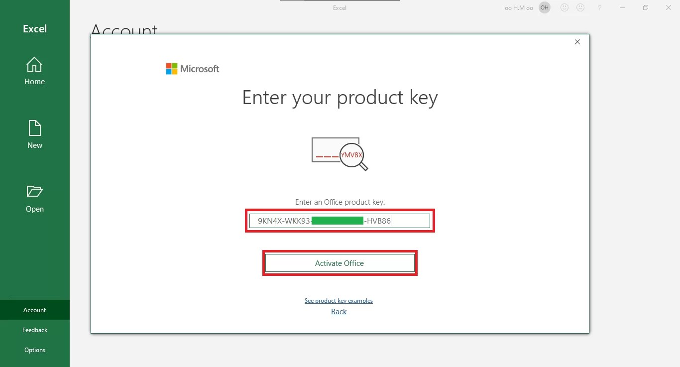 """3 - Enter your valid product key purchased. Then, click in """"Activate Office""""."""