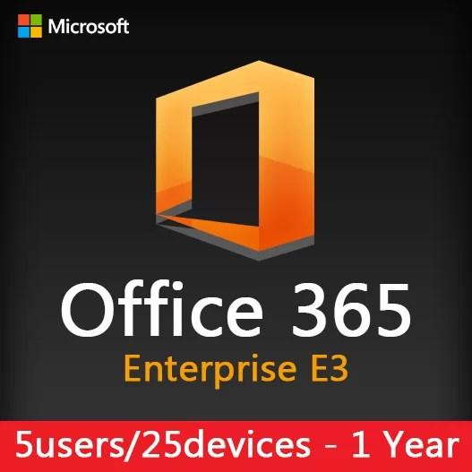 Microsoft Office 365 Enterprise E3 (5 user - 25 device) 1 year