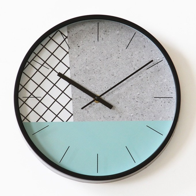 12-inch Creative Minimalist Clock Green Round Wall Clock Modern Design Kitchen Bedroom Study Mute Decorative Quartz Clock