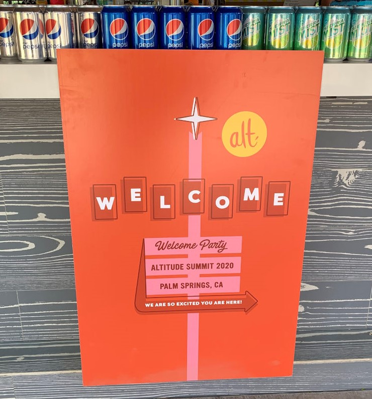 Welcome sign at Alt Summit 2020