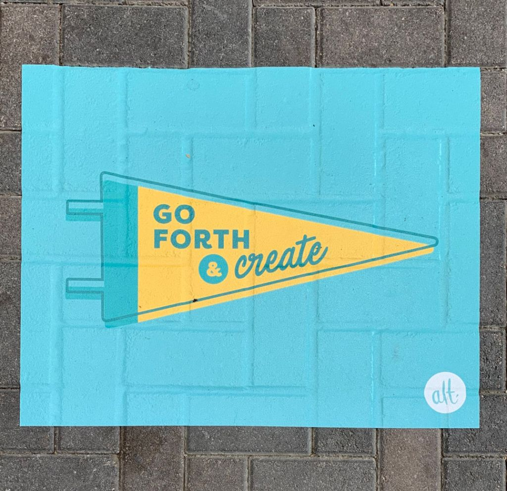 Photo of Alt sign 'go forth & create'
