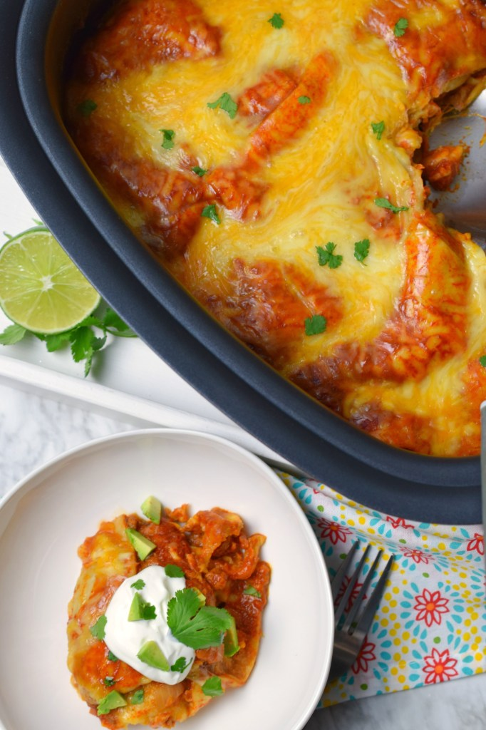 If you want a simple and tasty meal the family will love try these easy Crockpot Enchiladas. Loads of flavor directly from your slow cooker.