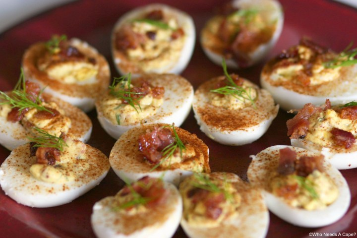 Deviled Eggs with Candied Bacon | Who Needs A Cape?