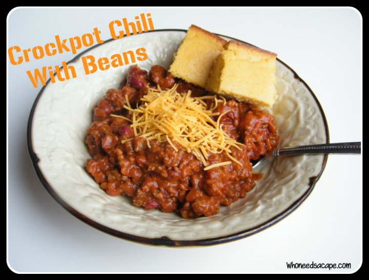 Nothing like a big old pot of Crockpot Chili with Beans! Serve alongside some freshly baked cornbread and you'll have a hearty meal! Perfect for tailgating!