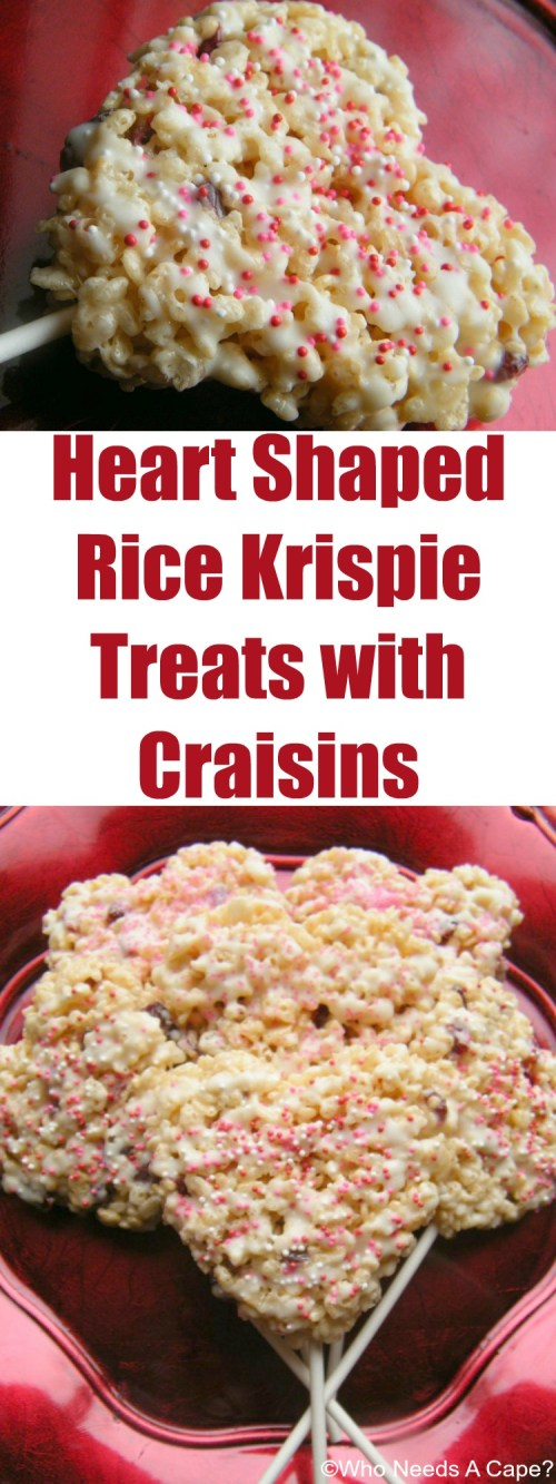 Heart Shaped Rice Krispie Treats with Craisins the perfect Valentine's Day treat for your sweetheart! Drizzled with white chocolate for the perfect touch.