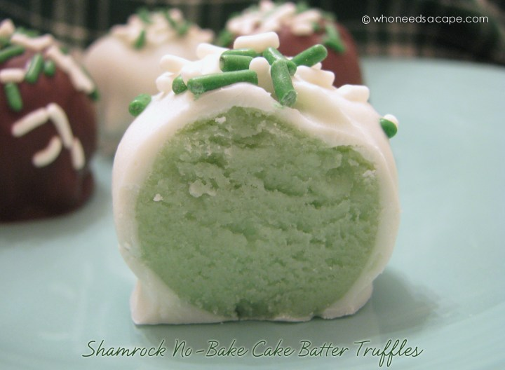 These Shamrock No-Bake Cake Batter Truffles are just perfect for St. Patrick's Day celebrations! Everyone loves these these bite-sized no bake balls!