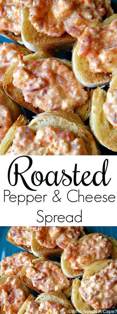 Make this easy Roasted Pepper & Cheese Spread for holiday parties. Deliciously simple and incredibly tasty! Serve with crackers or veggies for dipping.
