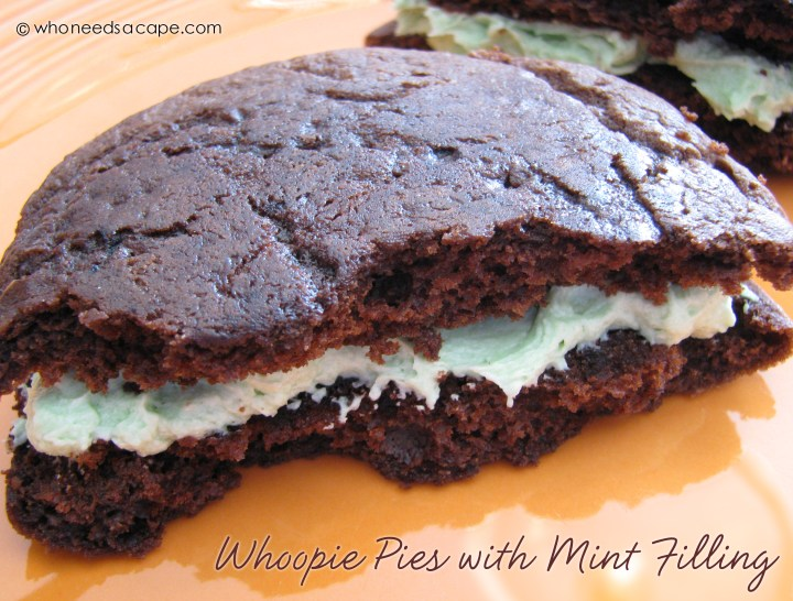 Delicious Whoopie Pies with Mint Filing are the ultimate chocolate and mint dessert! Great St. Patrick's Day treat, so delicious!