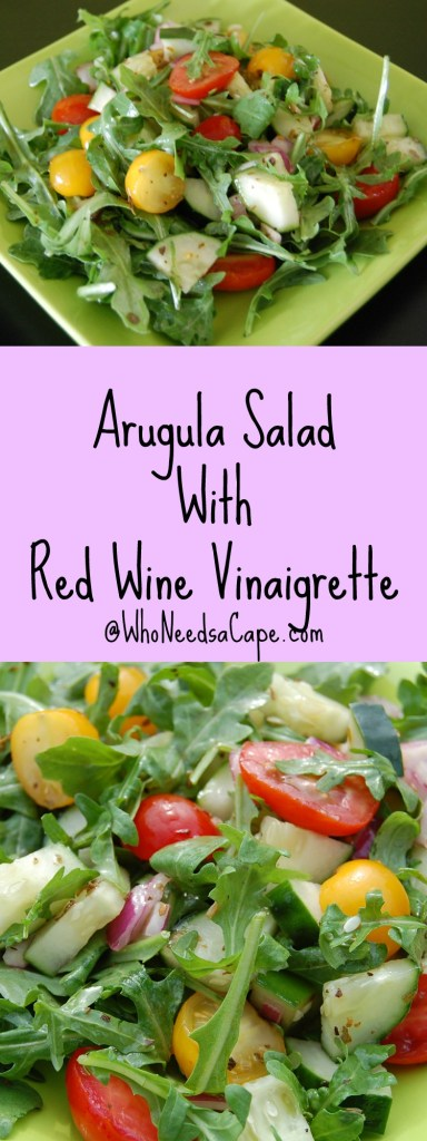 Arugula Salad with Red Wine Vinaigrette is an easy salad to make as an entree or a side. Loaded with delicious crisp flavors.