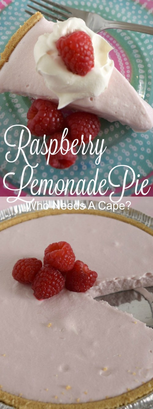 Raspberry Lemonade No-Bake Pie is a tasty no-bake dessert that's great for summer parties. A sweet and tart combination is the perfect blend. | Who Needs A Cape?