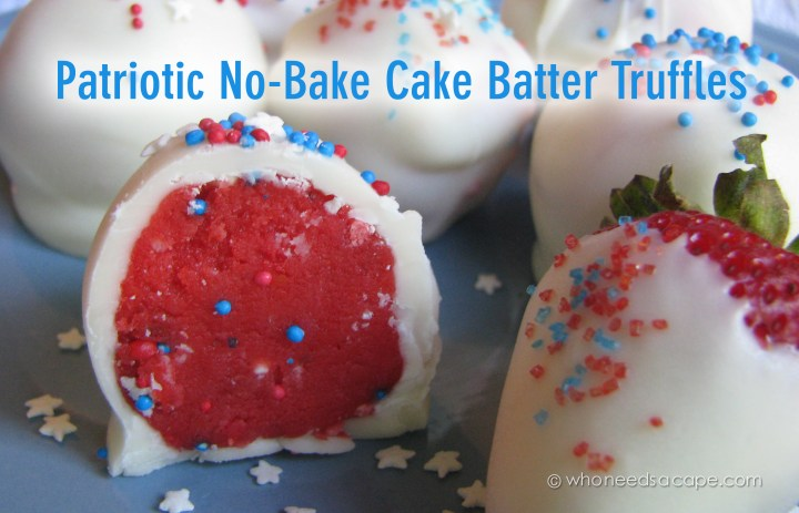 Patriotic No-Bake Cake Batter Truffles are tasty bites of cake batter in All-American red, white and blue. Great for BBQ's, parties or picnics!