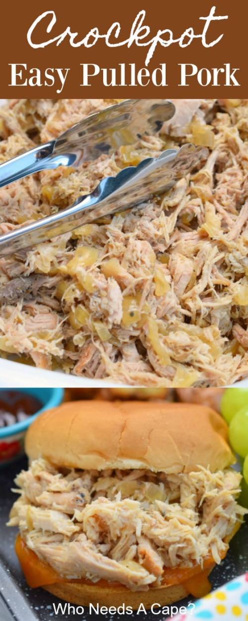 shredded bowl of crockpot easy pulled pork with serving utensil
