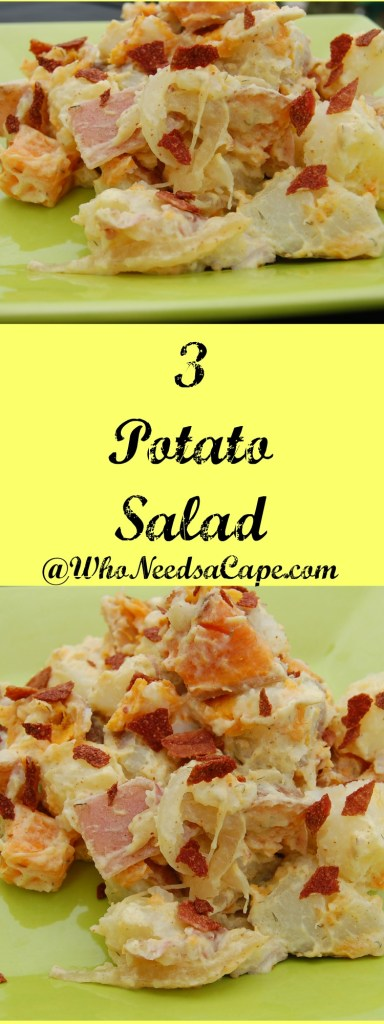 If you love traditional potato salad than you simply must try 3 Potato Salad! Easy to make, you'll love this version for your next BBQ.