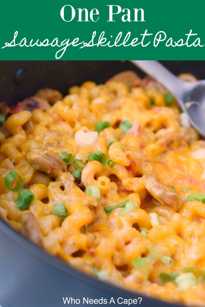 one pan sausage skillet pasta in pan with serving spoon