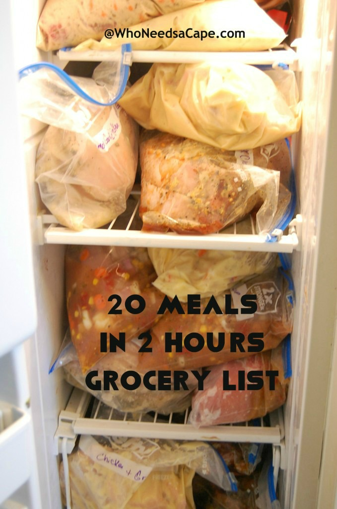 Freezer Meals Part 2 – 20 Meals in 2 Hours Grocery List