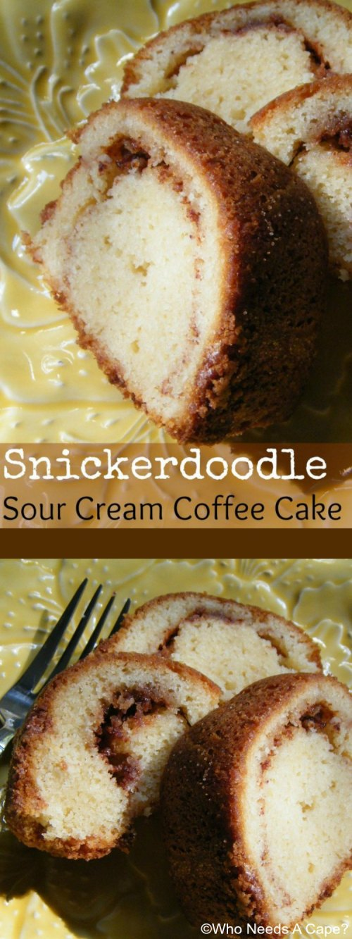Get the coffee pot started because you must have a cup with this scrumptious Snickerdoodle Sour Cream Coffee Cake. Wonderful dessert for entertaining.