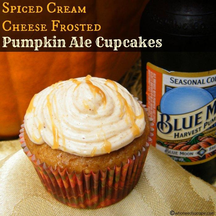 SpicedCreamCheeseFrostedPumpkinAleCupcakes