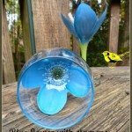 blue flower wine glass