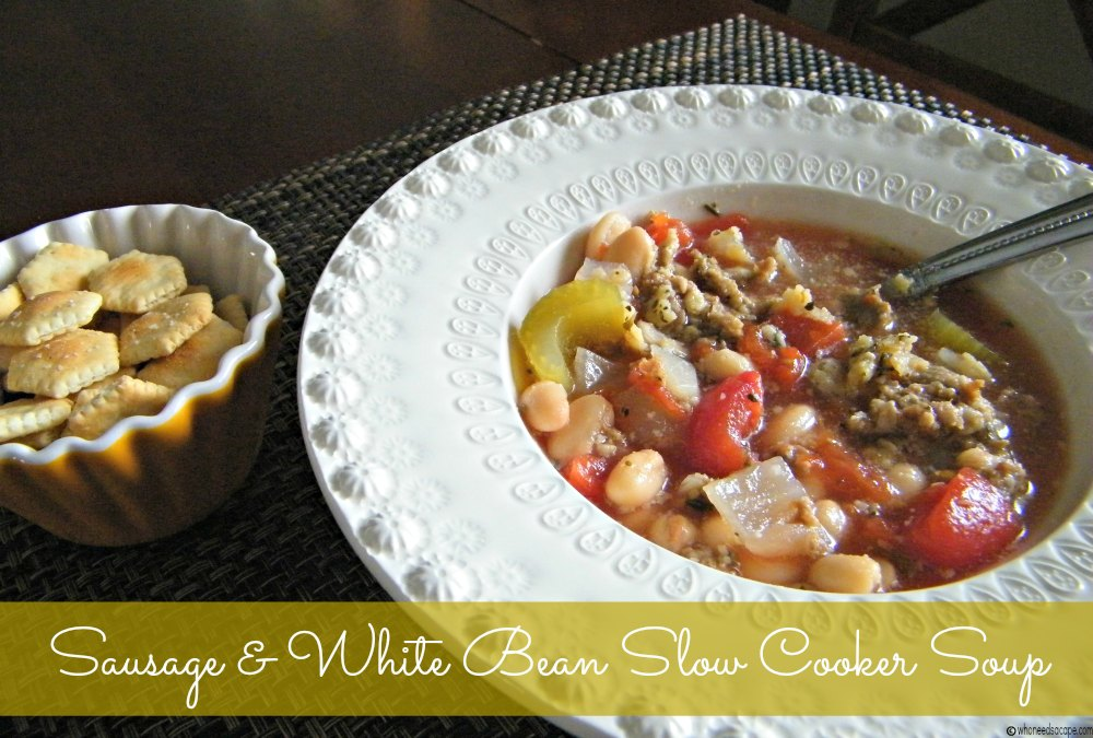 Sausage & White Bean Slow Cooker Soup is a hearty yet oh so simple soup. Part of the 7 Meals in 1 Hour post on Who Needs A Cape?