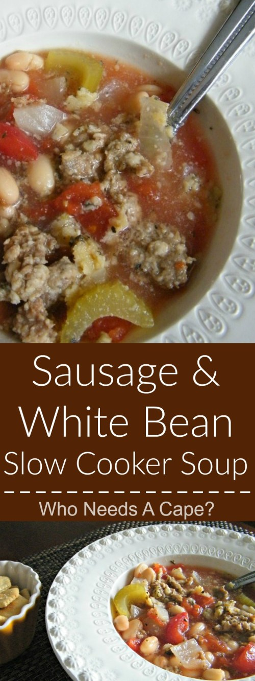 Sausage & White Bean Slow Cooker Soup is a hearty yet oh so simple soup. Part of the 7 Meals in 1 Hour post on Who Needs A Cape? | [Who Needs A Cape? | http://whoneedsacape.com]