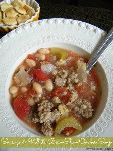 Sausage & White Bean Slow Cooker Soup   Who Needs A Cape? #slowcooker #crockpot #soup #sausage #7mealsin1hour