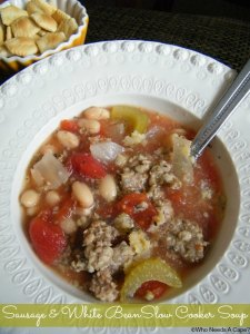 Sausage & White Bean Slow Cooker Soup | Who Needs A Cape? #slowcooker #crockpot #soup #sausage #7mealsin1hour
