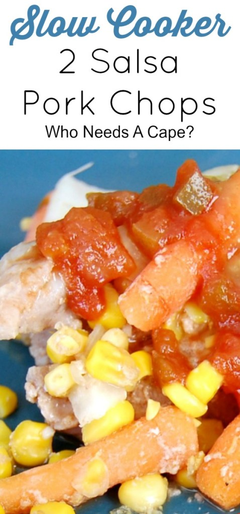 Easy and great slow cooker meal. Perfect for freezer meal! Slow Cooker 2 Salsa Pork Chops are most and tender - you'll love it!