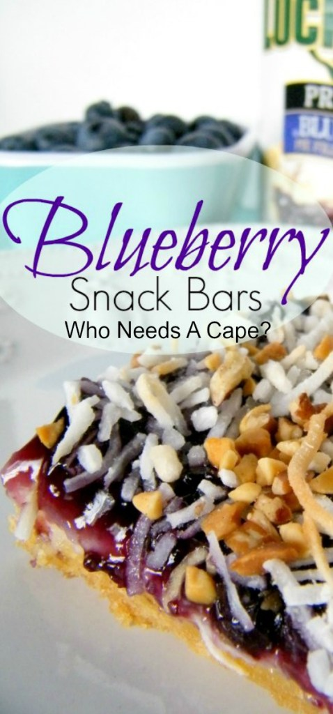 Blueberry Snack Bars, a fruity creamy dessert bar topped with coconut and nuts, the perfect flavor combination. Great with a dollop of whipped cream!