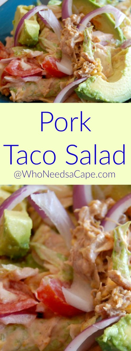 Pork Taco Salad Make the Pork in your Slow Cooker and toss the salad together that night - SO easy but so tasty!