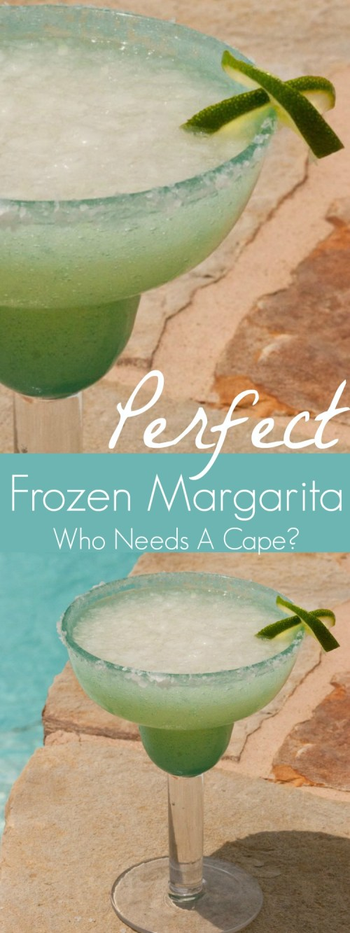 A perfect summer drink made simple, is Who Needs a Cape's Perfect Frozen Margarita. Make one up this summer and enjoy it by the pool! | Who Needs A Cape? |