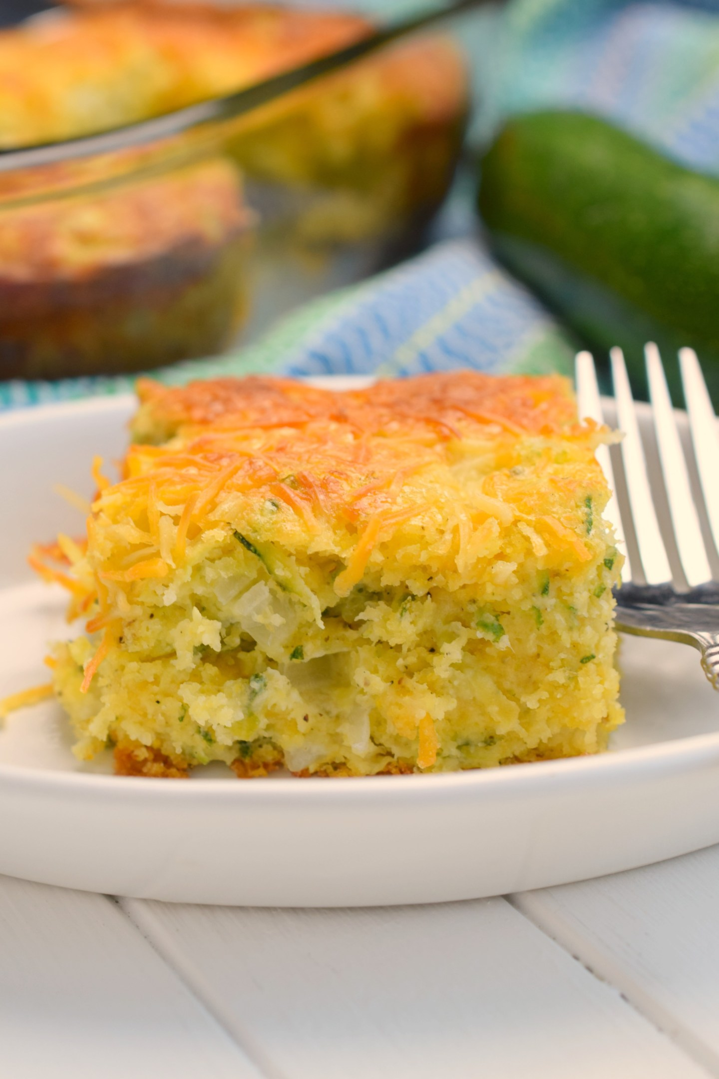 Cheesy Zucchini Cornbread Casserole by Who Needs A Cape? - WEEKEND POTLUCK 443