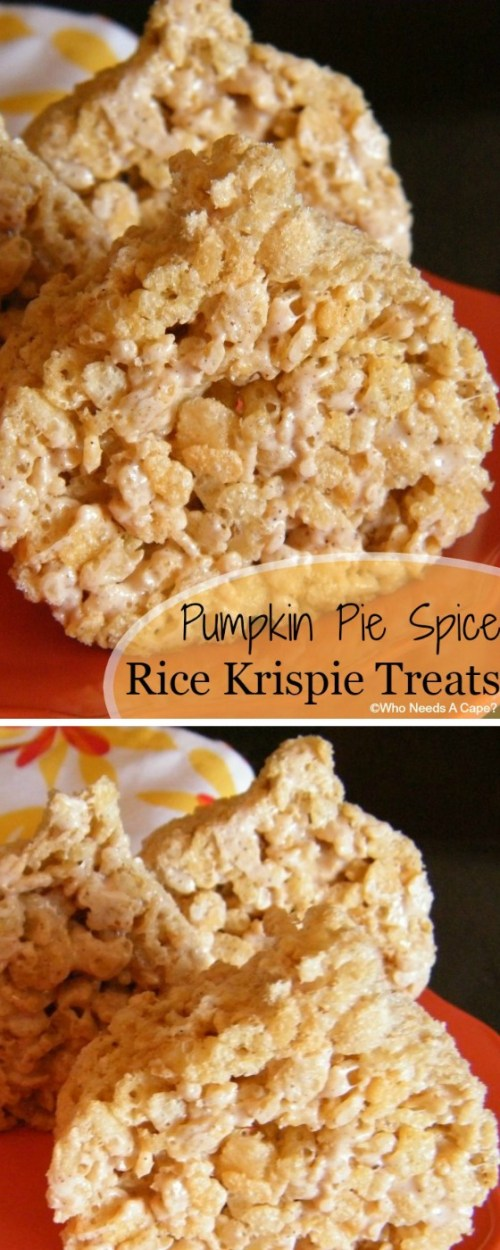 These Pumpkin Pie Spice Rice Krispie Treats are a tasty fall treat that will remind you of all your favorite fall flavors. Easy to make and decorate.