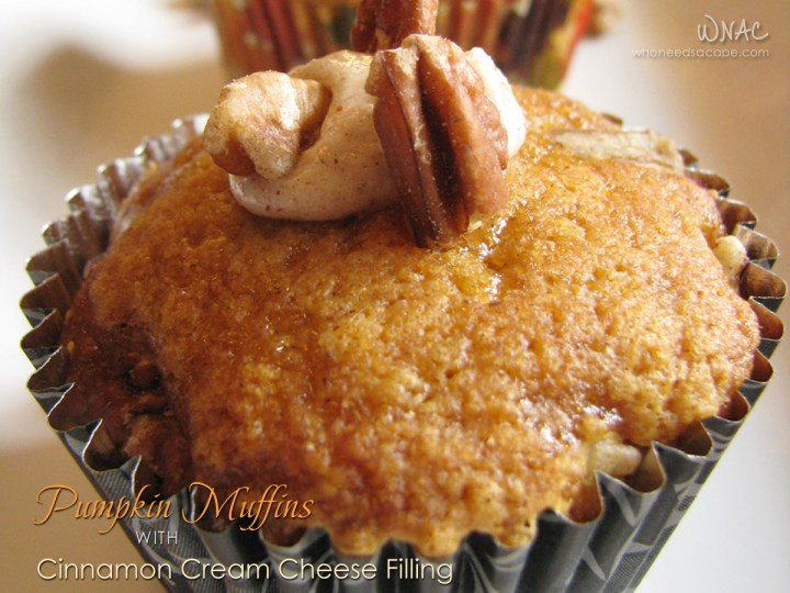 Pumpkin Muffins with Cinnamon Cream Cheese Filling ~ Still getting your fill of all things pumpkin? Then be sure to try these seasonal muffins!